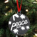 """Wooden Christmas Ornament - """"Peace"""", Curstom Year Ornament For Christmas Tree Decoration"""