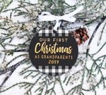 Grandparents First Christmas Ornament,  Buffalo Check Christmas Ornament, Custom Year