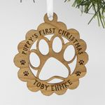 Custom Wood Pet Ornament, Personalized Engraved Pet's First Christmas Wood Ornament