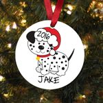 Custom Name Dalmation Dog Black & White Dog Personalized Christmas Ornament