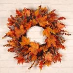 Autumn Thanksgiving Day Unlit Wreath 24'' With Berries and Leaves For Home Decor
