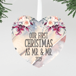"Our First Christmas as Mr & Mr Round Floral Christmas Ornament, Newlywed Custom ""Mr & Mr"" Ornament"