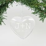 """Personalized Engraved Crystal Ornament - """"J+N"""""""