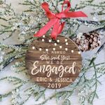 Engagement Ornament,  We're Engaged Christmas Ornament, 2019 Custom Name & Year