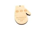 Hand Mitten Personalized Christmas Wooden Ornament
