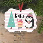 Personalized Pink Penguin Christmas Ornament for Girls