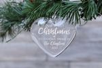 First Christmas New Home Glass Ornament, Personalized Heart Glass ornament
