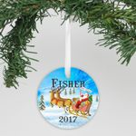 Reindeer And Sled Personalized Christmas Ornament