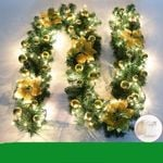 Golden Leaves Ornaments with Led Light Artificial Christmas Garland 6' Long - Pre-lit