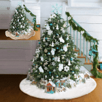 White Faux Fur Luxury Soft Snow Christmas Tree Skirt For Christmas Holiday Decoration