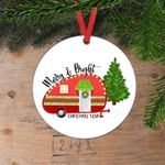 Camping Christmas Ornament Merry & Bright Camper