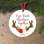 Our First Christmas Together Christmas Ornament Antlers Flowers, Custom Year