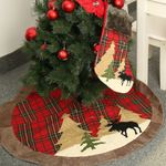 """Round Red Plaid 41.3"""" Christmas Tree Skirt For Christmas Holiday Decoration"""