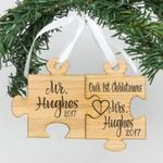 Engraved Wood Mr & Mrs. Hughes Puzzle Personalized Christmas Ornament