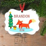 Cute Fox Personalized Christmas Ornament