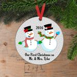 Our First Christmas Ornament Personalized Wedding Gift Snowmen