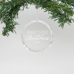 """Personalized Engraved Crystal Ornament - """"Bradley's First Christmas"""""""
