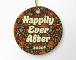 Retro Floral Happily Ever After Ornament Decoration