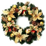 Unlit Golden Christmas Wreath 23-inches w/ Bell, Golden Leaves and Pinecone For Christmas Decor
