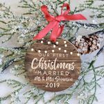 Our First Christmas Married Ornament, Newlywed Custom Christmas Ornament, Custom Name & Year