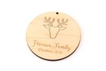 Deer Antler Personalized Christmas Wooden Ornament