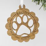 Engraved In Loving Memory Wood Personalized Christmas Ornament