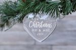First Christmas Married Engraved Glass Ornament