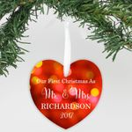 Aluminum Heart Ornament Our First Christmas Personalized Christmas Ornament