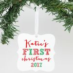 Cute Square Ornament Katie's First Christmas Personalized Christmas Ornament