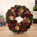 "Artificial Christmas Garland Wreath Pinecone 9"" Decor Wall Hanging Door Santa Claus For Christmas Holiday"