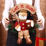 Artificial Snow Man Doll Unlit Wreath 7.8'' Christmas Ornament For Home Decor