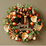 Copper Artificial Christmas Wreath Door Hanging Decoration-14-inch, Unlit