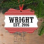 Red Chevron Personalized Couple Christmas Ornament - Custom Name and Year