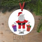 Hippo Santa Christmas Ornament Cute Personalized Ornament