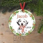 Custom Name Cute Dog Personalized Christmas Ornament