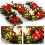 Red Leaves Ornaments with Led Light Artificial Christmas Garland 6' Long - Pre-lit