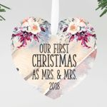 Our First Christmas as Mrs & Mrs Heart Personalized Christmas Ornament