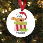 Orange Tabby Cat Personalized Christmas Ornament - Custom Name and Year