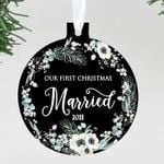 Our First Christmas Married Ornament, Personalized Christmas Ornament