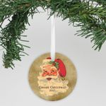 "Personalized Aluminum Ornament - ""Vintage Santa"""