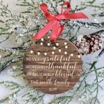 Grateful Family Personalized Christmas Ornament Thankful Family Ornament