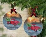 Red Truck Personalized Christmas Ornament, Memory Ornament, Engagement Ornament