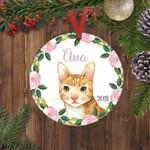 Custom Name Watercolor Orange Cat Personalized Christmas Ornament