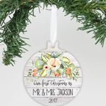 """Personalized Aluminum Ornament - """"Our First Christmas Flowers"""""""