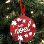 """Personalized Wood Ornament - """"Noel"""" For Christmas Tree Decoration"""
