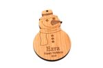 Snowman Personalized Christmas Wooden Ornament