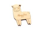 Funny llama Personalized Christmas Wooden Ornament