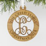 "Personalized Engraved Family Wood Ornament, Custom Christmas Ornament ""The Creed Family"""
