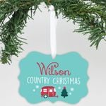 """Personalized Aluminum Ornament - """"Country Christmas"""""""