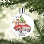 Vintage Red Truck Christmas Tree Ornaments -  Custom Name and Year